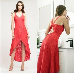 J.O.A. Embroidered Tulip Hem Midi Dress size L